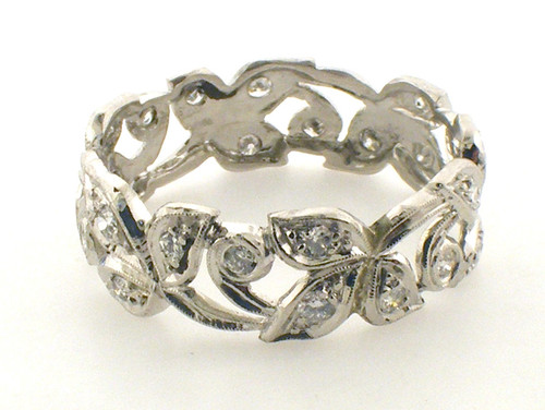 Ladies platinum eternity band weighing 4.1 grams.  Size 8.75  Diamond approx .50ct TW