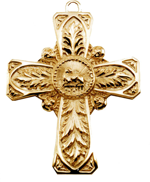 This is a 4 inch height by 3 inch wide by 3mm thick Lamb of God cross. Weight in 14 karat gold is 93 grams. It can be made in sterling silver or 14 karat gold.