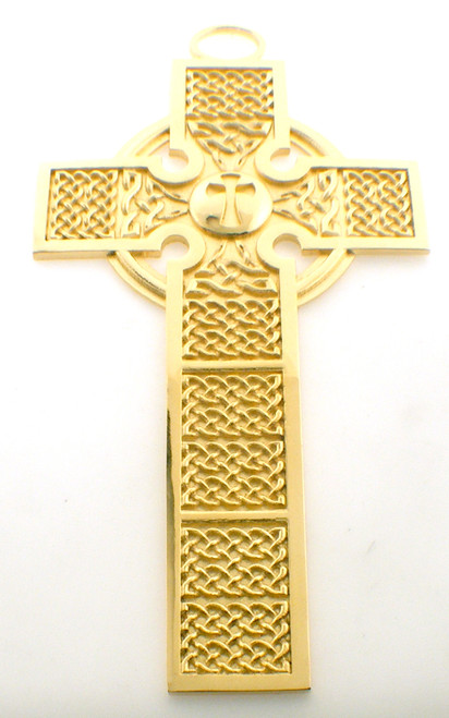 Celtic cross. 4 Inches by 2.25 Inches by 3mm. Weight is 67 grams.
