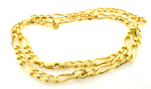 14 karat yellow gold 5.5mm solid figaro necklace weighing 32.4 grams. 19.5 inches in length