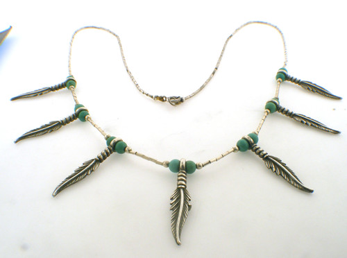 sterling silver and turquiose 18 inch leaf necklace weighing 10. grams