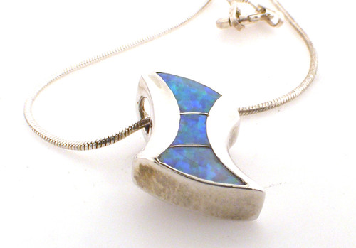 sterling silver 16 inch snake chain with sterling created opal inlay pendant weighing 4.9 grams