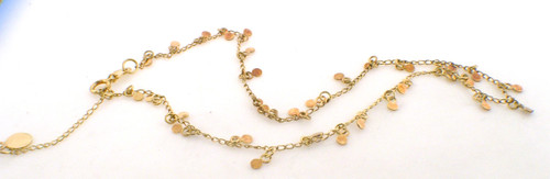 14 karat yellow gold anklet weighing 1.8 grams. Can be eother 9.25 or 10 inches in length