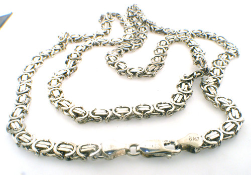 Sterling flat byzantine necklace weighing 51.2 grams.   28 inches in length
