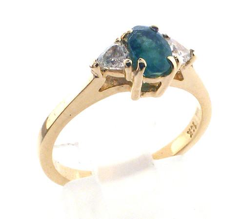 14 karat yellow gold emerald and diamond ring weighing 2.4 grams.  D~.20ct tw. sz 5.5