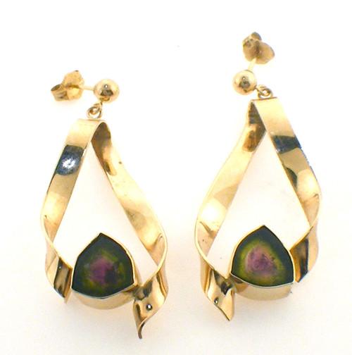 14 k yellow gold watermelon tourmaline earrings weighing 6.5 g