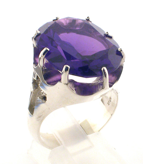20 x 15 mm Amethyst (simlutated or Genuine) or Simulated Ruby Available. Weighs 17.0 grams in sterling silver. Approx 21.5 grams in 14 karat