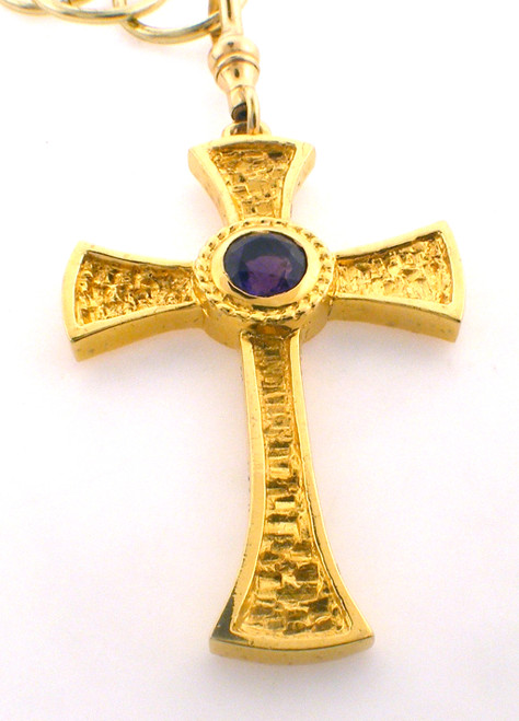 Sterling / Gold Plate 2 inch cross with genuine amethyst Reg $575, Clearance $395
