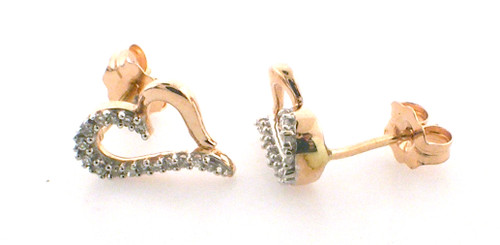 10 karat pink and white gold diamonds earrings weighing1.0 grams