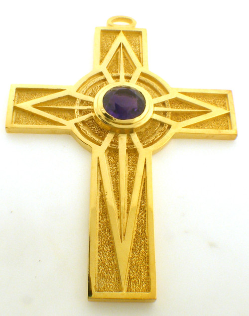 CAD designed modern 4 Inch cross with amethyst center stone.