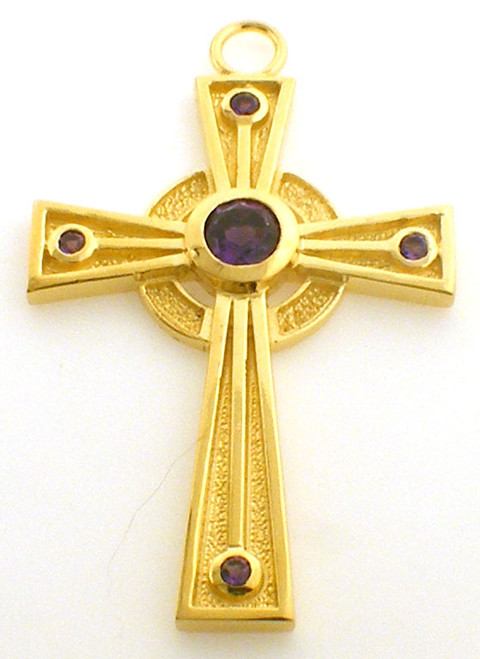 CAD designed cross with amethyst center and small amethyst stones at each arm of the cross. cross is 3.5 inches in height and weighs 3.5 grams in 14K gold.
