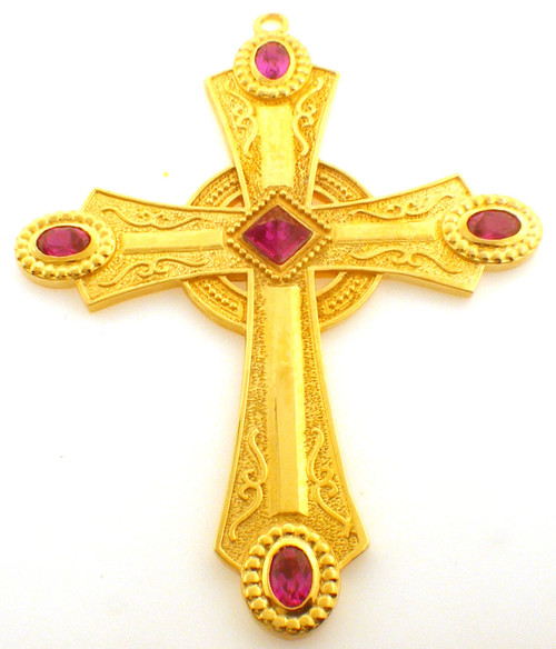 CAD designed pectoral cross with square center stone and oval stones at end of each arm. Comes in 3 inch and 3.5 inch.