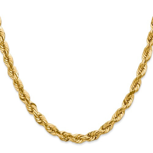 5.75mm Dia Cut Solid Rope Necklace 38 Inch
