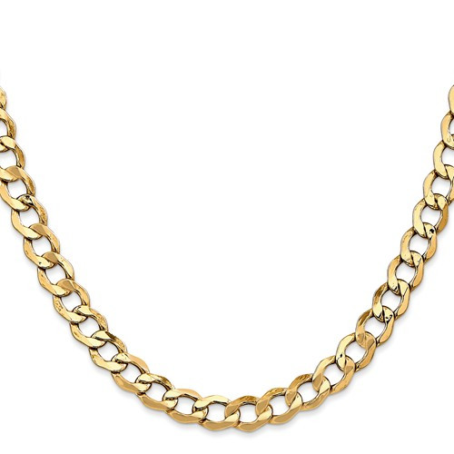 6.0mm Semi Solid Curb Necklace 38 inch