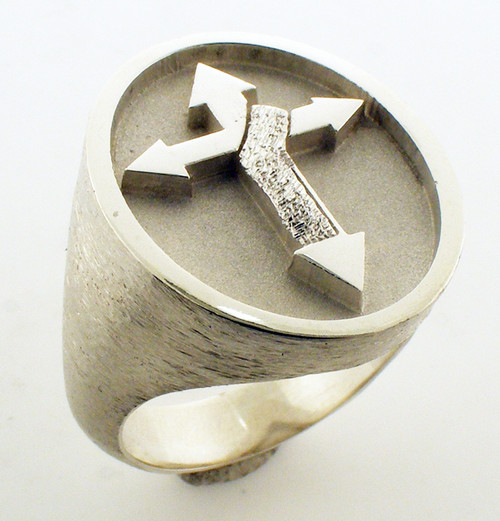 Deacons ring. 24x20mm. Weighs 21.7 grams in sterling silver. Gospel According to Ellis Collection