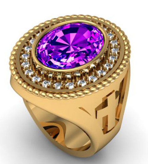 BR104 is a smaller amethyst than the BR103 because it has a braid on the outside edge of the ring and is also circled by diamonds.  The diamond weight is 50/100 of a carat.  The ring weighs 39 grams in 14 karat yellow gold and the amethyst size is 16 x 12 mm.