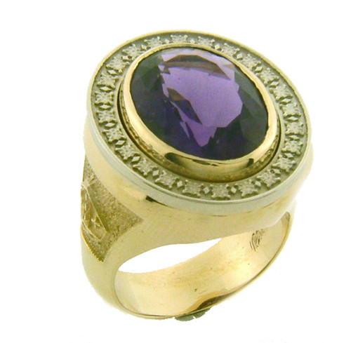 BR105 has a White gold plate with rosettes. Weight in 14K gold is 39 grams. Amethyst is 18x13mm.
