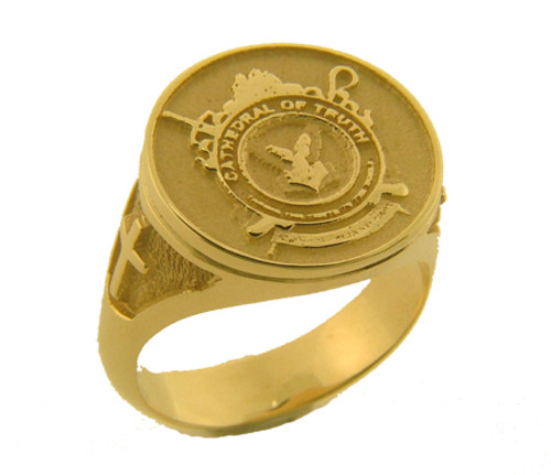 This is a round ring top.  Weight in 14 karat is 12.5 grams.  You can put your seal onto this ring for a one time charge of $300 (plus the cost of the ring).  Ring has crosses on either side.
