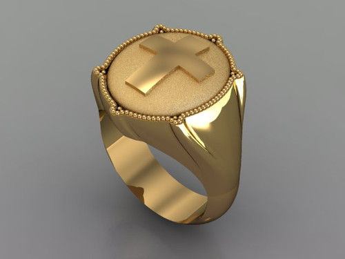This is a smaller ring with a cross on it and plainer sides. Weight in 14 karat yellow gold is 25 grams.