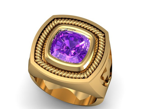 This is a Episcopal Ring with an Antique Cushion Cut Amethyst center stone.  It comes surrounded by diamonds which total 50/100 of a carat in weight or a braid instead than the diamonds.