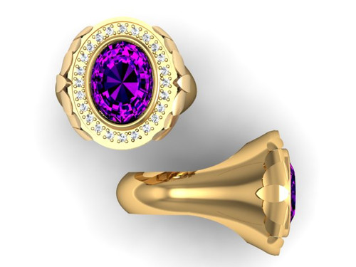 BR137 is the same ring as BR103 with the addition of leaves on either side of the ring. It has a 16 x 12 amethyst and weighs 37 grams in 14 karat yellow gold.