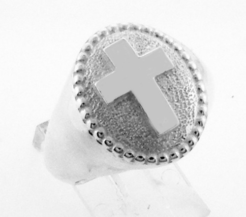 This is a smaller oval ring with a cross on the top. It is 18 x 15mm and weighs 23 grams in 14 karat yellow gold.
