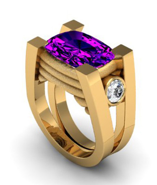 This is an amethyst and bezel set cubic zirconia ring for ladies or gents. Center can be either an oval shape or a cushion cut stone, please specify in the comments section of the checkout page.