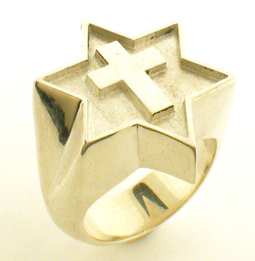 This is a cross inside of a Star of David. Overall size of this ring is 25mm. Weight in sterling silver is 27.8 grams.