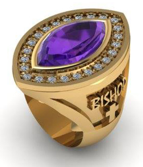 This is a large amethyst ring with diamonds surrounding the center stone.  The amethyst is a 20 x 10mm marquise shape.  Diamonds total 50/100 of a carat in weight.  The ring weighs 39 grams in 14 karat yellow gold.  (The sides can be changed, please call the store for additional information)