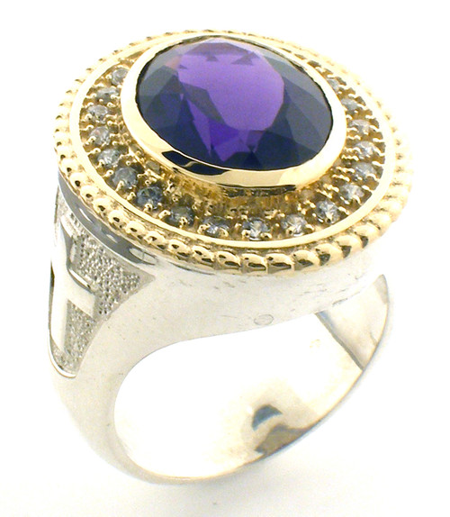 This is the BR104 Two Tone. It comes with all the same specifications as the BR104 EXCEPT it has a silver shank and a 14 karat yellow gold top! (They are beautiful, if I must say so myself.)  Amethyst is 16 x 12 mm