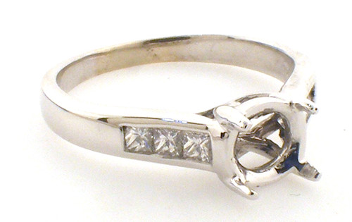 14Karat white gold semi mount ring with princess cut diamonds. Ring weighs 4 grams and Dia TW is .4ct. Center mount made to accommodate 1ct stone