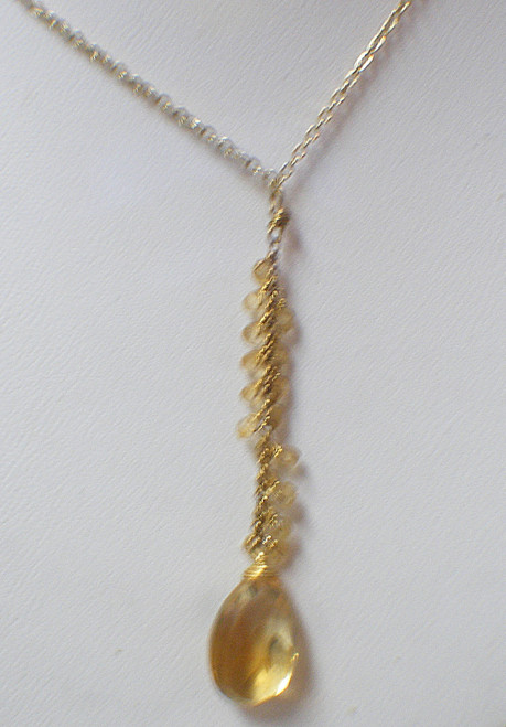 Sterling/Gold plate yellow crystal dangle necklace