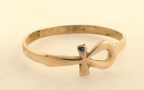 14 karat yellow gold ankh ring weighing .9 grams,  Size 5.75