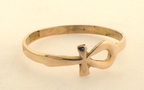 14 karat yellow gold ankh ring weighing .9 grams, Size 5.75
