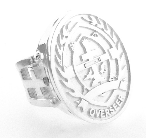 Sterling Silver  Episcopal Seal Ring with open sides.  Can be made with your seal for an extra $300 one time charge.  Also available in 14 karat yellow gold $2275
