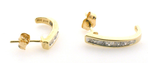 14 karat yellow gold diamond earrings weighing 1.8 grams. Diamonds are approx .50ct tw
