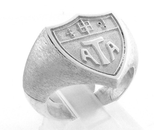 Sterling Silver ATA shield ring weighing 16.6 grams. Can be made in different finger sizes. Delivery from order is approx 2 weeks