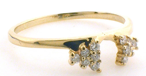 14 karat yellow gold diamond enhancer ring weighing 2.6 grams. Finger size 11.5. Diamonds weigh approx .18ct tw