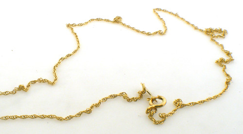 14 karat yellow gold french rope necklace 15.25 inches in length.