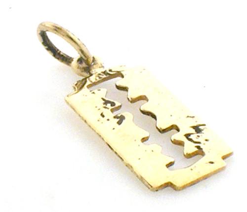 14 karat yellow gold razor blade charm weighing .9 grams