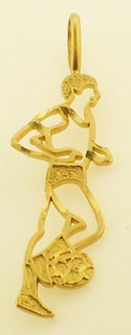14 karat yellow gold soccer player charm weighing 1.7 grams