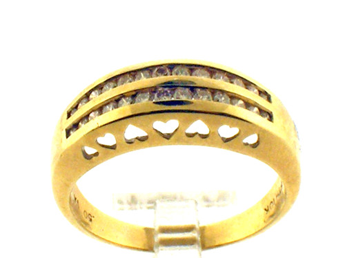 This is a 14 karat yellow gold and diamond ring. The total weight of the ring is 5.8 grams.