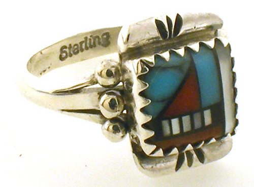 Sterling Silver inlaid stone ring. Finger size 5.25