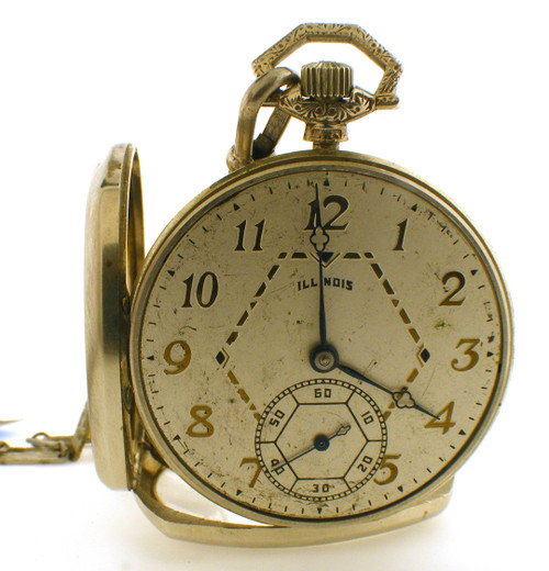 This is a 14 karat white gold ILLINOIS pocket watch made in 1926. An overhaul on the watch was done on 10/25/12. The total weight of the watch is 56.8 grams