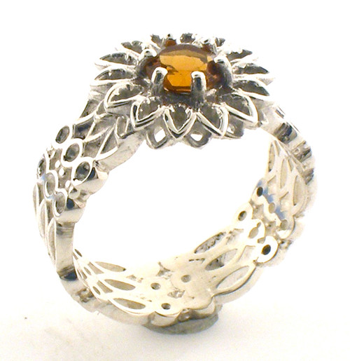 Sterling silver custom made yellow garnet ring. Finger size 6.25