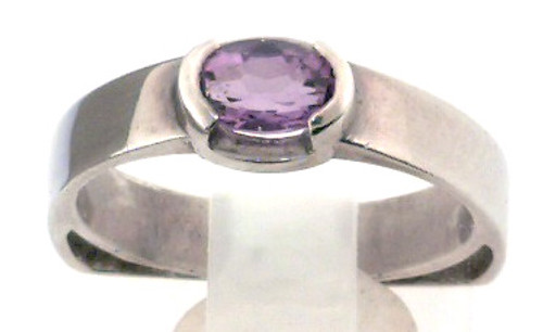 Sterling silver amethyst ring finger size 6. Shank is 3mm wide and has a flat bottom