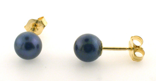 14 karat yellow gold 6mm black pearl (dyed) stud earrings.