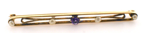 10 karat yellow gold pearl and purple stone bar pin weighing 3.0 grams