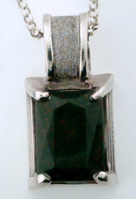 Sterling silver and bloodstone custom pendant .