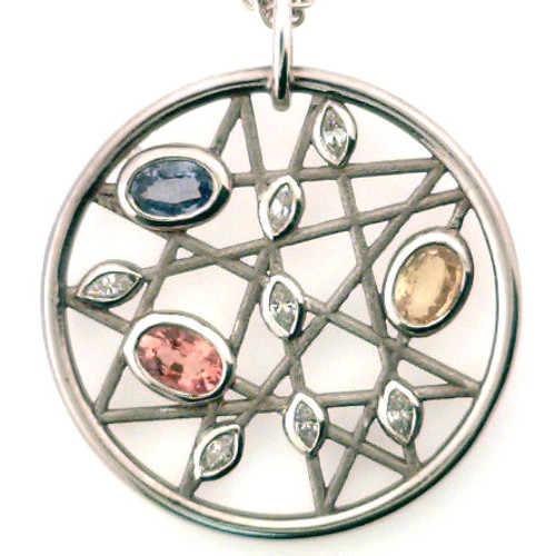 Sterling silver diamond and gemstones freeform pendant 8.3 grams.